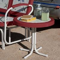 White with Red Border Side Table $79.95