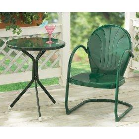 Retro Metal Lawn Side Table and Chair and Furniture