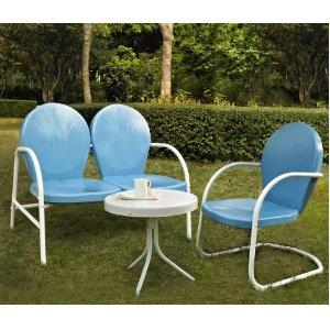New color of Sky Blue. 2 chairs $169. Free Shipping Retro Outdoor Furniture Specials